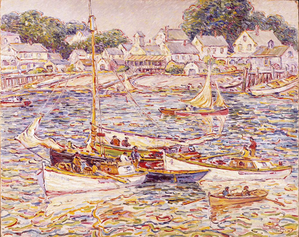 painting of waterfront boats in provincetown