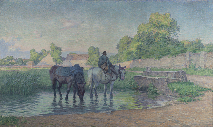 landscape painting of horses drinking water
