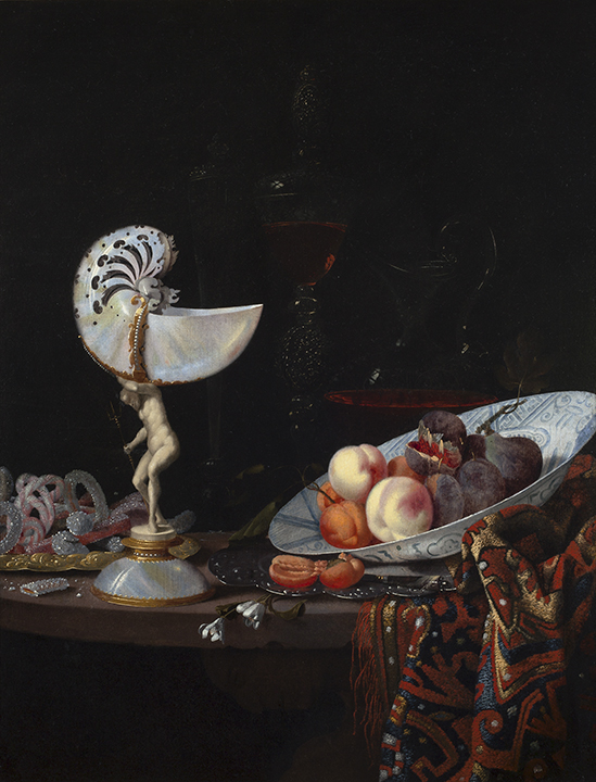 painting of still life featuring fruit and nautilus shell