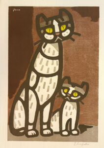 Inagaki Tomoo Two Cats painting