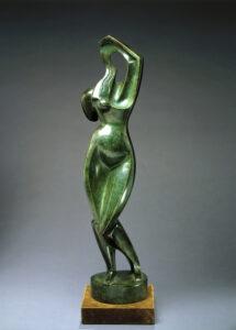 green woman sculpture
