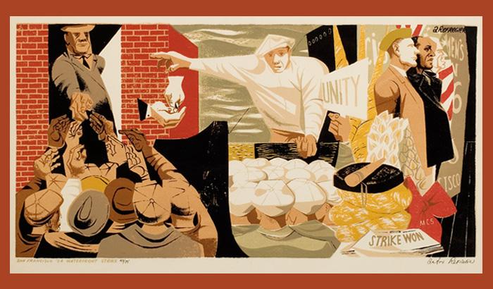 printmaking image of waterfront strikers