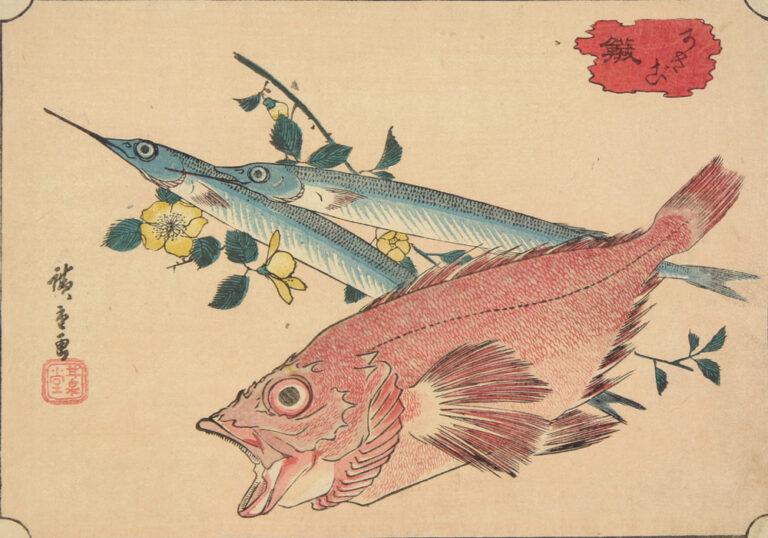 hiroshige print of 2 fish