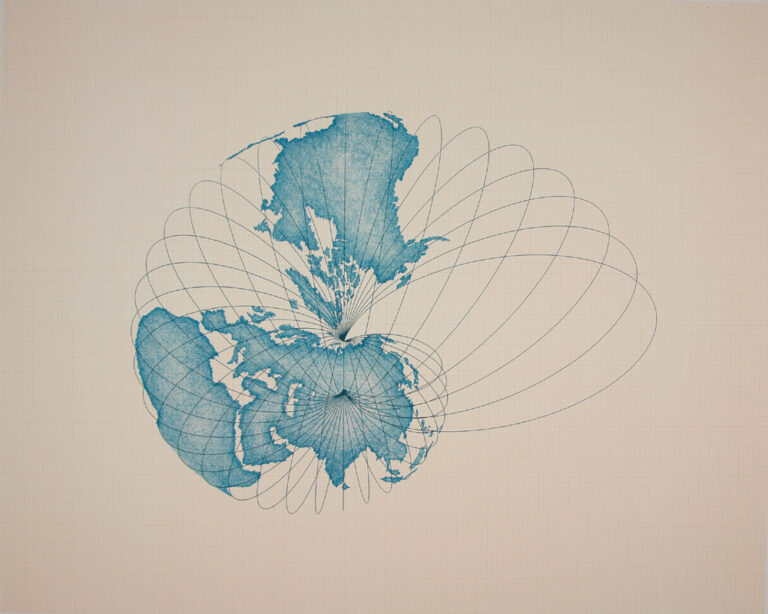 Teal blue illustration of a world map with radiating lines forming the shape of a snail against a beige background.