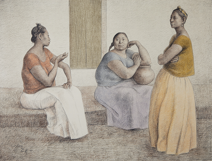 painting of women talking by Francisco Zúñiga