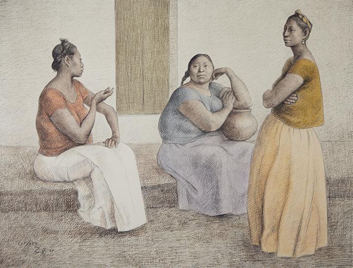 painting of women talking by Francisco Zúñiga