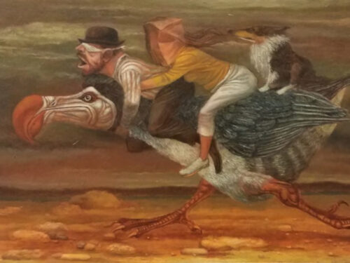 painting by Raymond Louis Gloeckler of man, woman, and dog riding a large bird