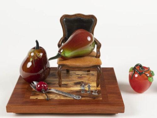 Audrey Handler glass sculpture of pears
