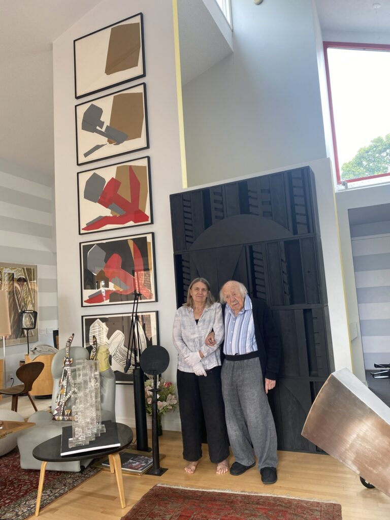 Willi Haeberli and his daughter, Frances, at home with his art collection.